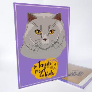 Letrero decorativo gato gris