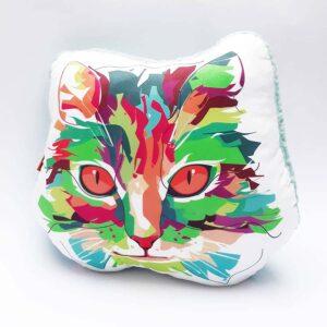 Almohada Decorativa gato arcoiris