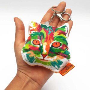 Llavero hecho a mano gato arcoiris