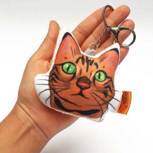 Llavero hecho a mano gato atigrado