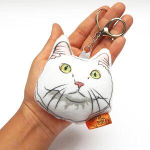 Llavero hecho a mano Gato Blanco