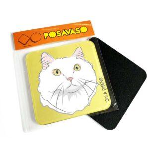 Posavaso acrilico gato blanco