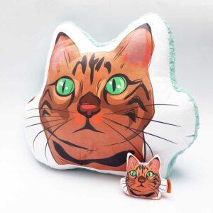 Pack Almohada Decorativa + llavero gato atigrado