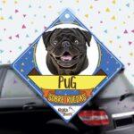 Colgante de auto de perro raza Pug Negro