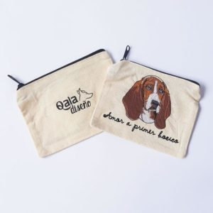 Monedero bordado basset hound
