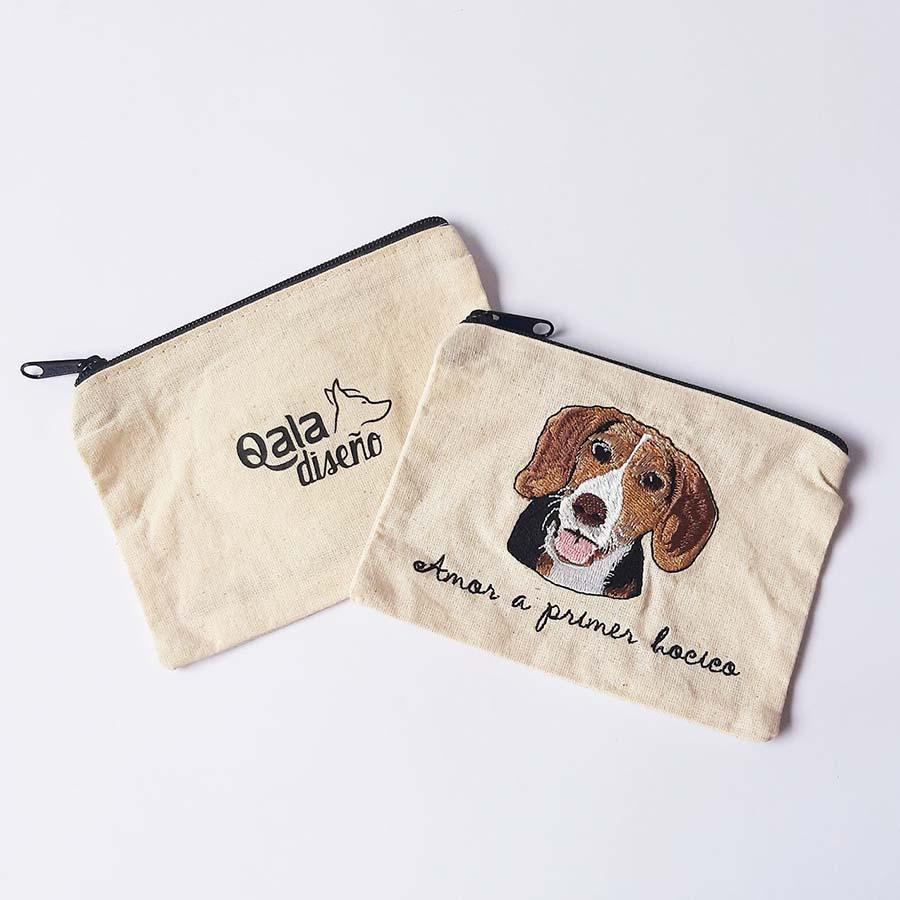 Monedero bordado beagle
