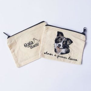 Monedero bordado border collie