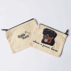 Monedero bordado rottweiler