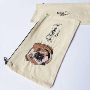 Cartuchera bordada bulldog ingles