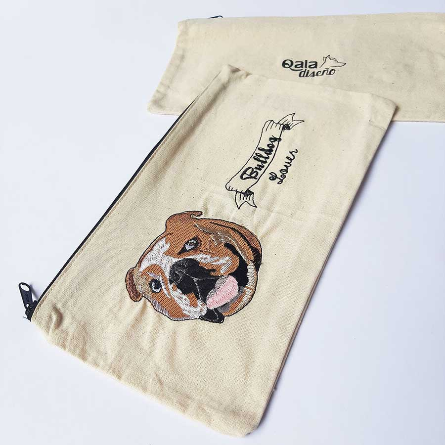 Cartuchera bordada bulldog ingles