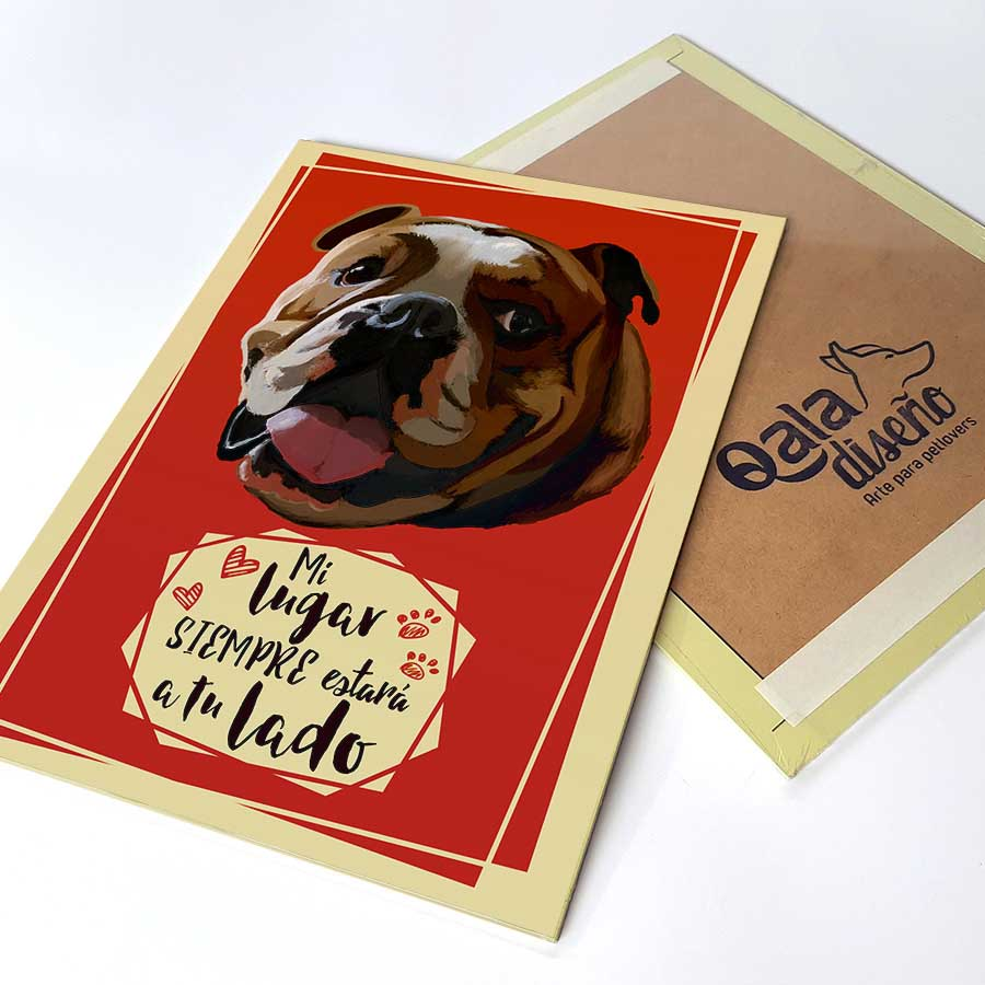 Letrero decorativo 30x22.50 cms con la ilustracion original de Perro raza Bulldog Inglés